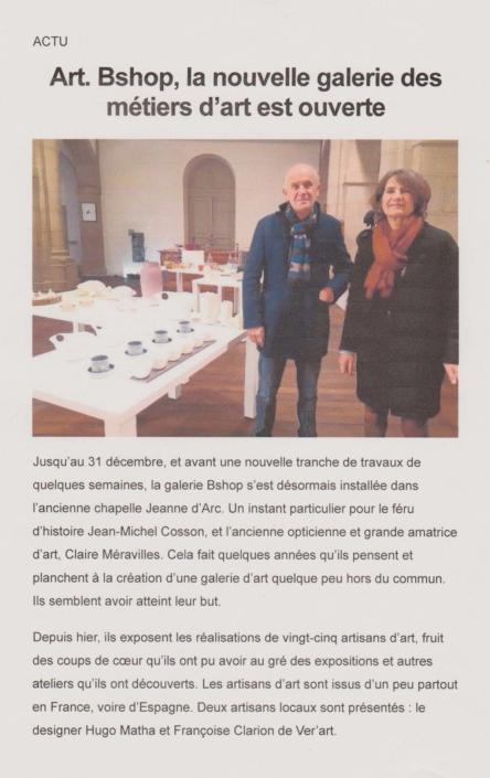 Article Aveyron Digital News - Bshop, la nouvelle galerie des métiers d'art est ouverte