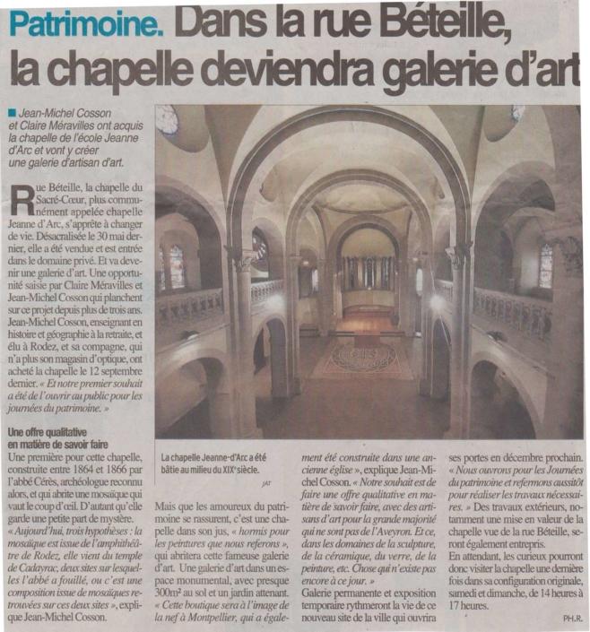 Article Centre Presse - Dans la rue Béteille, la chapelle deviendra galerie d'art