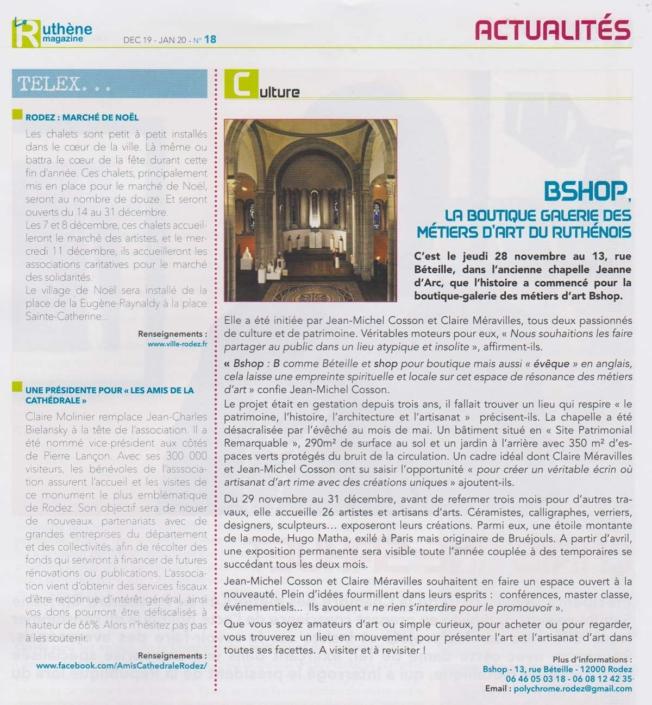 Article Ruthène magazine - Bshop la boutique galerie des métiers d'art du ruthénois