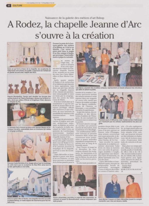 Article Le Petit Journal de l'Aveyron - À Rodez, la chapelle Jeanne d'Arc s'ouvre à la création