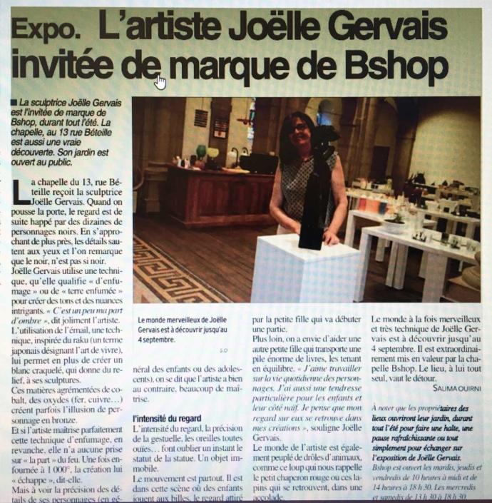 Article Centre Presse - L'artiste Joëlle Gervais invitée de marque de Bshop